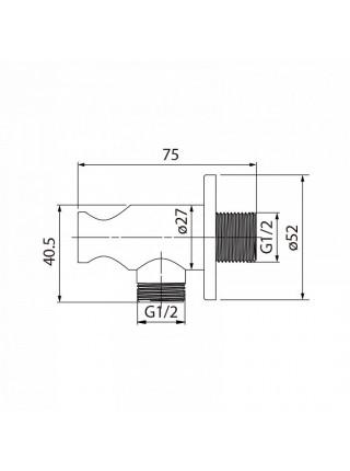 Шланговое подключение с держателем Iddis 001SB01i62 (хром глянец)