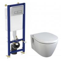 Комплект инсталляции Ideal Standard W880101 (инсталляция Ideal Standard W3710AA и унитаз Connect E803501 (дюропластовое сиденье, микролифт))