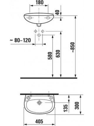 Раковина Jika Lira 1527.1 40 см (8.1527.1.000.105.1.) (смеситель слева)