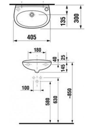 Раковина Jika Lira 1527.1 40 см (8.1527.1.000.106.1.) (смеситель справа)