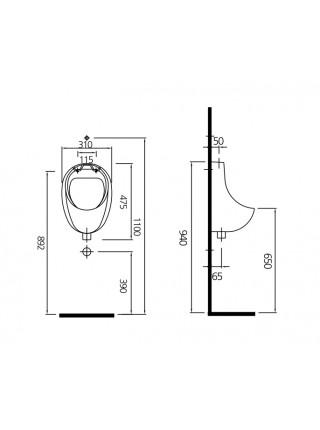 Писсуар Kale Optimum 71129392K0 (внешний подвод воды)