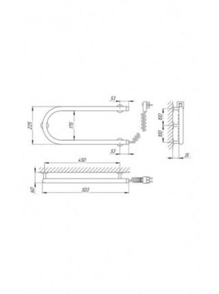 Полотенцесушитель электрический Laris П-образный 25ПС1 500х200 Э (хром глянец, подключение справа)