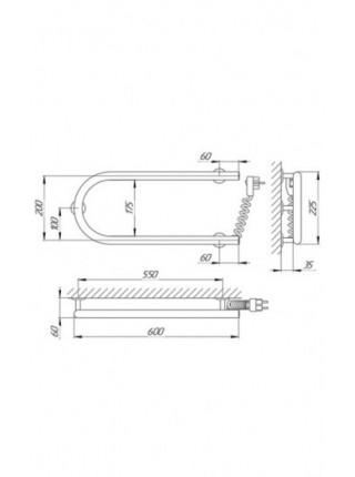Полотенцесушитель электрический Laris П-образный 25ПС1 600х200 Э (хром глянец, подключение справа)