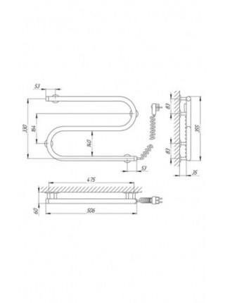 Полотенцесушитель электрический Laris S-образный 25ПС2 500х330 Э (хром глянец, подключение справа)