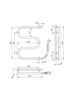 Полотенцесушитель электрический Laris М-образный 25ПС3 400X500 Э (хром глянец, подключение справа)