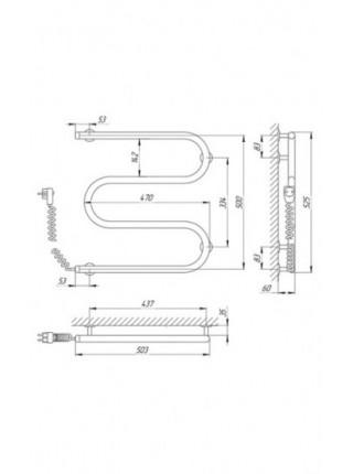 Полотенцесушитель электрический Laris М-образный 25ПС3 500X500 Э (хром глянец, подключение слева)