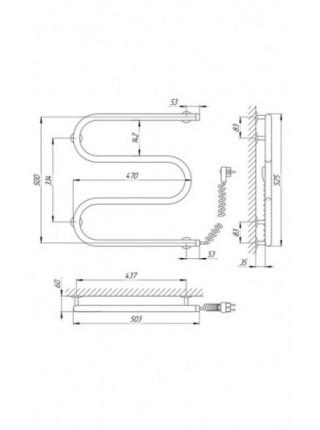 Полотенцесушитель электрический Laris М-образный 25ПС3 500X500 Э (хром глянец, подключение cправа)