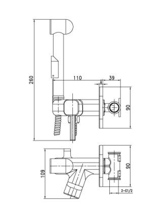 Комплект для гигиенического душа Lemark Solo LM7165C (хром глянец, скрытое подключение)
