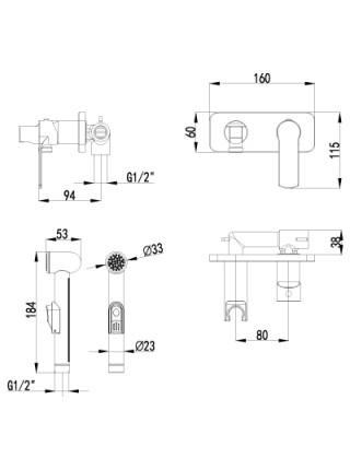 Комплект для гигиенического душа Lemark Plus Grace LM1519C (хром глянец, скрытое подключение)