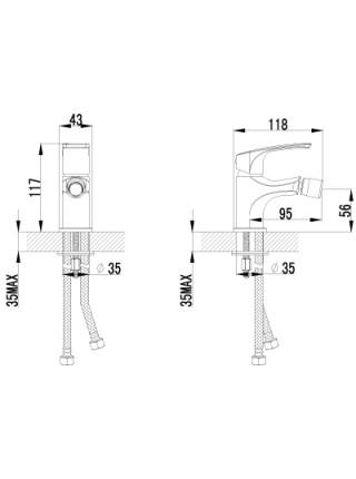 Смеситель для биде Lemark Plus Shape LM1708C (хром глянец)