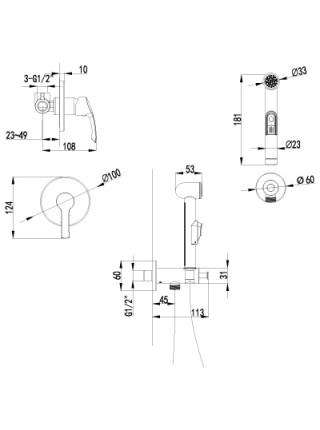 Комплект для гигиенического душа Lemark Plus Strike LM1119C (хром глянец, скрытое подключение)