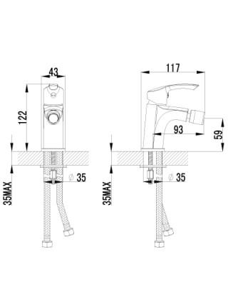 Смеситель для биде Lemark Plus Strike LM1108C (хром глянец)
