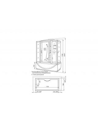 Душевой бокс Luxus 532 S 175х90 (тонированное стекло, высокий поддон с парогенератором)