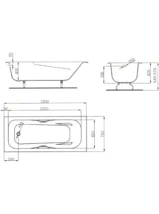 Чугунная ванна Maroni Colombo 445974 150x75 (белая, с ножками и ручками)