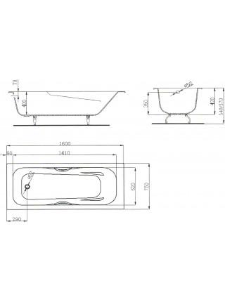 Чугунная ванна Maroni Colombo 445972 160x75 (белая, с ножками и ручками)
