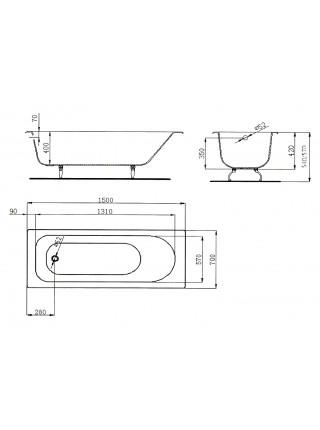 Чугунная ванна Maroni Orlando 445976 160x70 (белая, с ножками, без отверстий под ручки)