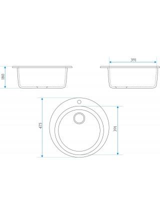 Кухонная мойка Merkana Модель 30 47х47 см. 35000 (чёрная)
