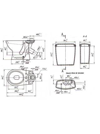 Унитаз напольный Оскольская керамика Суперкомпакт 44935110402 (антивсплеск, сиреневый)