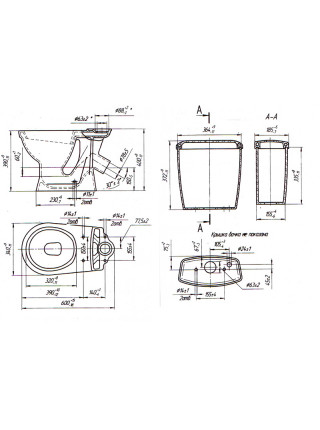 Унитаз напольный Оскольская керамика Суперкомпакт 44901110102 (антивсплеск, одуванчики)
