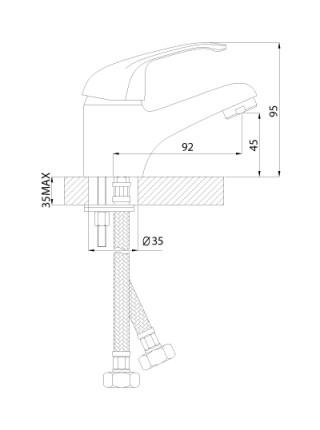 Смеситель для раковины Rossinka Серия А А35-11 (хром глянец)