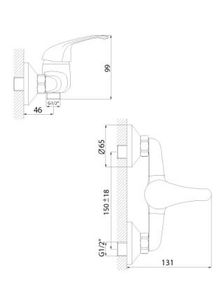 Смеситель для душа Rossinka Серия А A35-41 (хром глянец, с душевым комплектом)