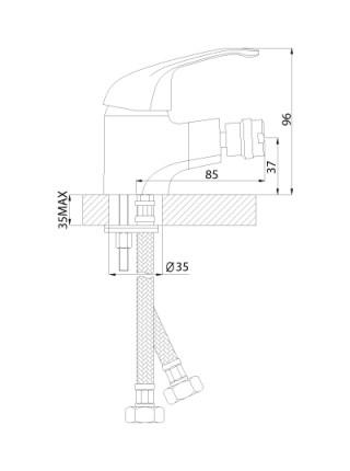 Смеситель для биде Rossinka Серия А A35-51 (хром глянец)
