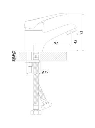 Смеситель для раковины Rossinka Серия B B35-11 (хром глянец)