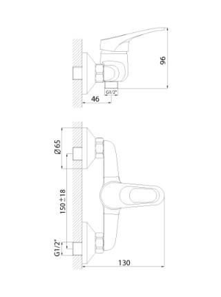 Смеситель для душа Rossinka Серия B B35-41 (хром глянец, с душевым комплектом)
