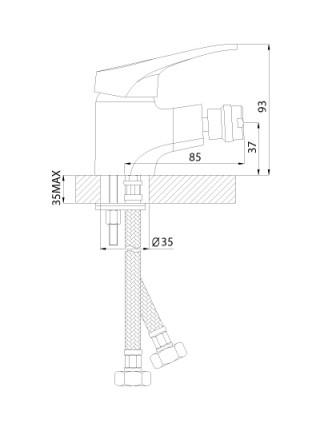 Смеситель для биде Rossinka Серия B B35-51 (хром глянец)