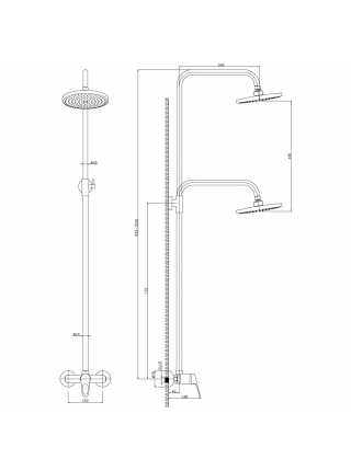Душевая система Rossinka Серия B B35-44 (хром глянец)