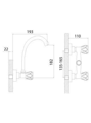 Смеситель для кухни Rossinka Серия L L02-73 (хром глянец)