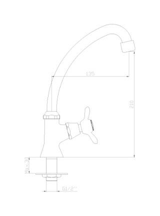 Кран для холодной воды Rossinka Серия Q Q02-60U (хром глянец)