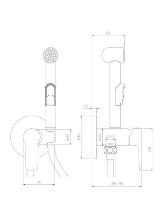 Комплект для гигиенического душа Rossinka Серия W W25-51 (хром глянец-белый, скрытое подключение)