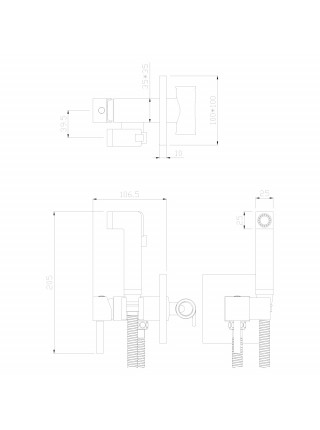 Комплект для гигиенического душа Rossinka Серия X X25-53 (хром глянец, скрытое подключение)