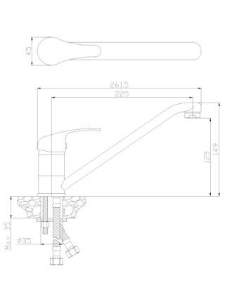 Смеситель для кухни Rossinka Серия Y Y35-21 (хром глянец)