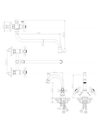 Комплект смесителей для ванной комнаты Rossinka Set 02-50 (хром глянец)