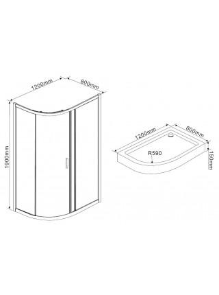 Душевой уголок Rush Fiji FI-A180120-R 120x80x190 (правый, прозрачное стекло)