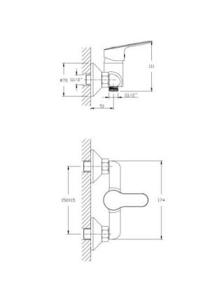 Смеситель для душа Rush Crete CR3535-63 (хром глянец, с душевым комплектом)
