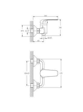 Смеситель для душа Rush Fiji FI1835-63 (хром глянец. с душевым комплектом)