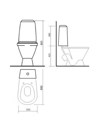 Унитаз напольный Sanita Кама Эконом KMASACC01090111 (косой, полипропиленовое сиденье)