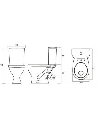 Унитаз напольный Sanita Формат Эконом FRTSACC01090113 (косой, полипропиленовое сиденье)