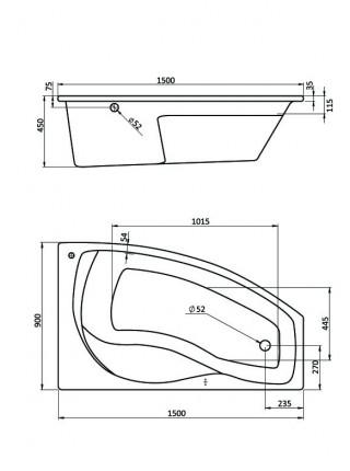 Ванна акриловая Сантек Майорка 1.WH11.1.985 150х90 (правая)
