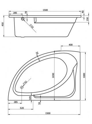Ванна акриловая Сантек Гоа 1.WH11.2.033 L 150х100 (левая)