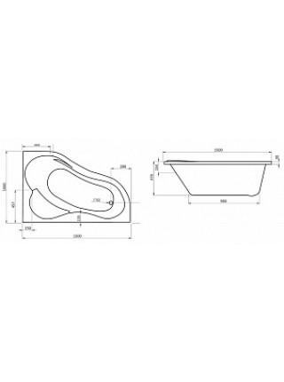 Ванна акриловая Сантек Ибица 1.WH11.2.034 L 150х100 (левая)