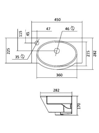 Раковина Сантек Форум 45 1.WH11.0.542 45 см. (отверстие слева)