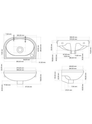 Раковина Сантек Бриз 40 1.WH11.0.442 40 см. (отверстие слева)