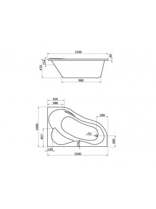 Ванна акриловая Сантек Ибица 1.WH11.2.035 R 150х100 (правая)