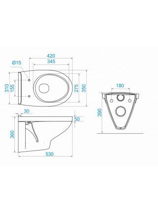 Унитаз подвесной Сантек Бореаль 1.WH30.2.206 (полипропиленовое сиденье)