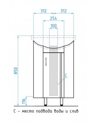 Тумба угловая напольная Style Line Эко Стандарт Веер 36 ЛС-00000092 36 см. (белая)