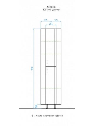 Пенал угловой напольный Style Line Эко Стандарт 30 ЛС-00000113 30 см. (белый)